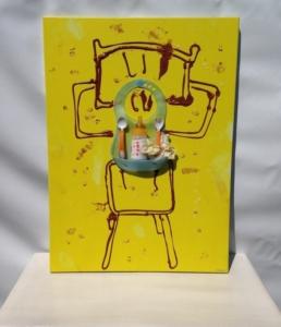 L'artiste plasticien breton présente la toile en lin Chaise Haute et Petits Dégâts