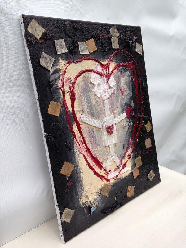 L'artiste plasticien breton présente la toile en lin Le gain d'une vie