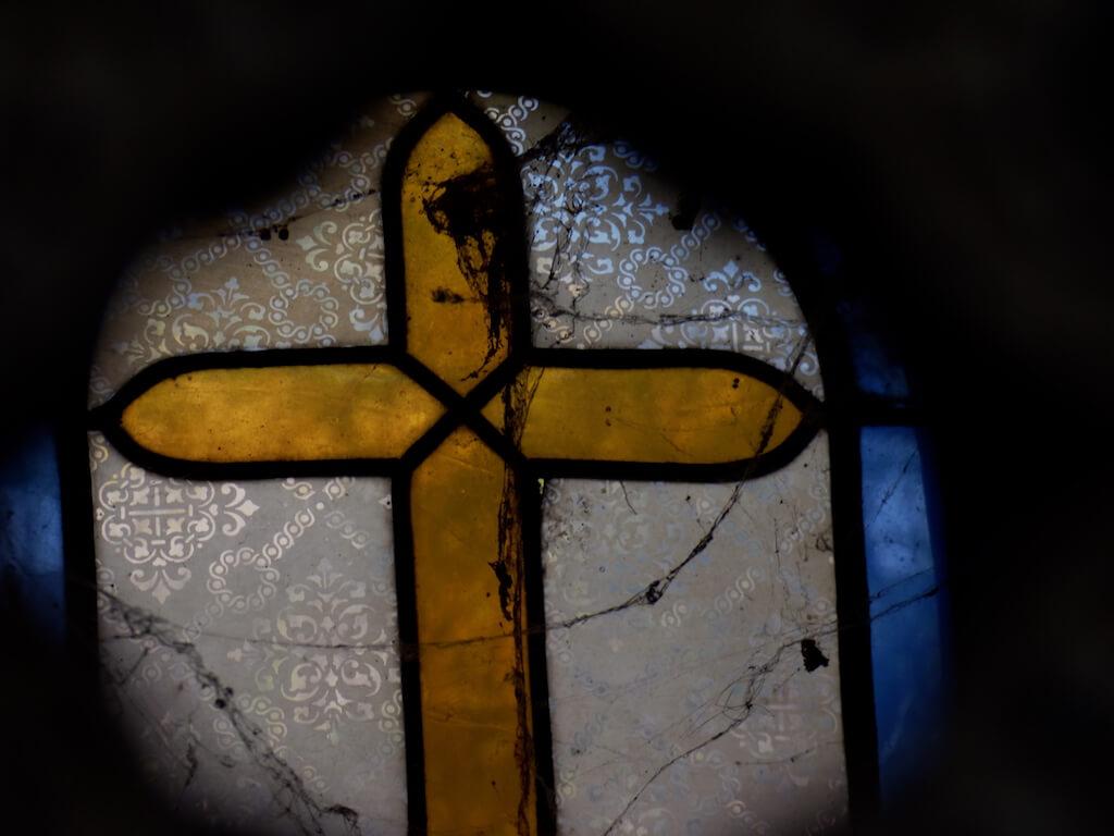 Vitrail d'une croix au Cimetière du Montparnasse - 14ème arrondissement de Paris - Patrimoine et Monuments - 2017