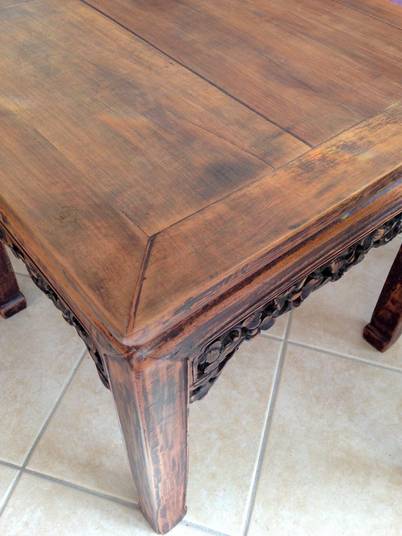 AG Décoration – Table basse en bois, sculptée / Bout de canapé - Esprit Asie - Après restauration - 2007