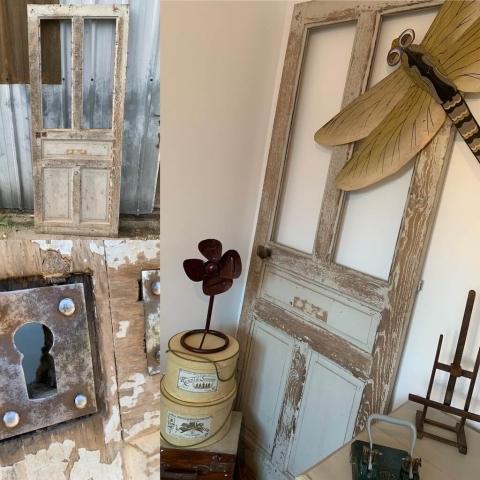 Réemploi d'une ancienne porte en bois