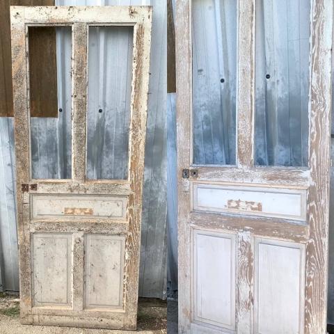 Ancienne porte en bois, avant-après ponçage