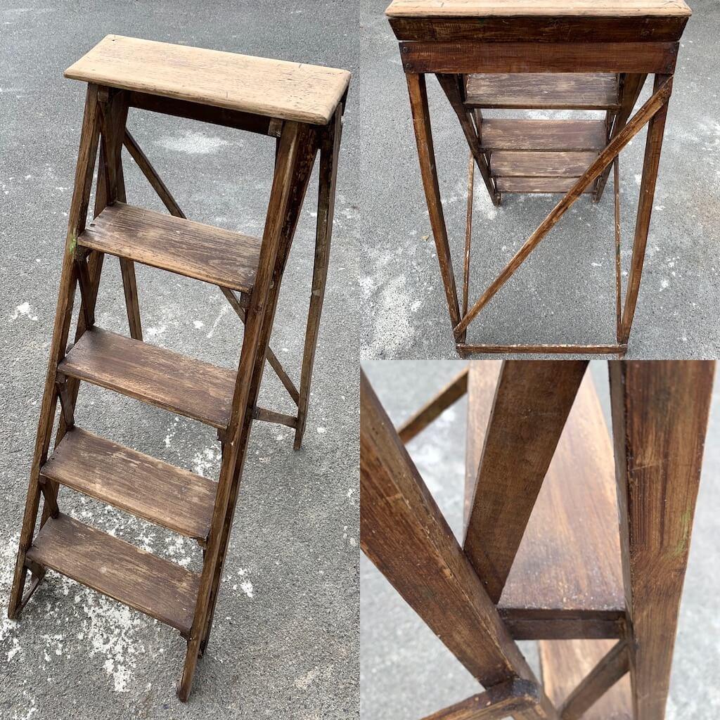 AG Décoration - Escabeau en bois de peintre avant rénovation